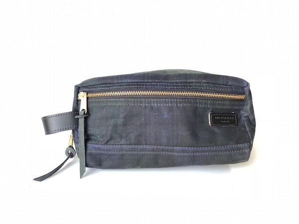 Waxed Cotton Dopp Kit - Black Watch Plaid