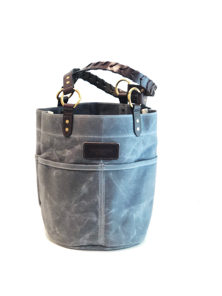 Belle - Waxed Filter Twill Feed Bucket Tote with laced straps - Charcoal