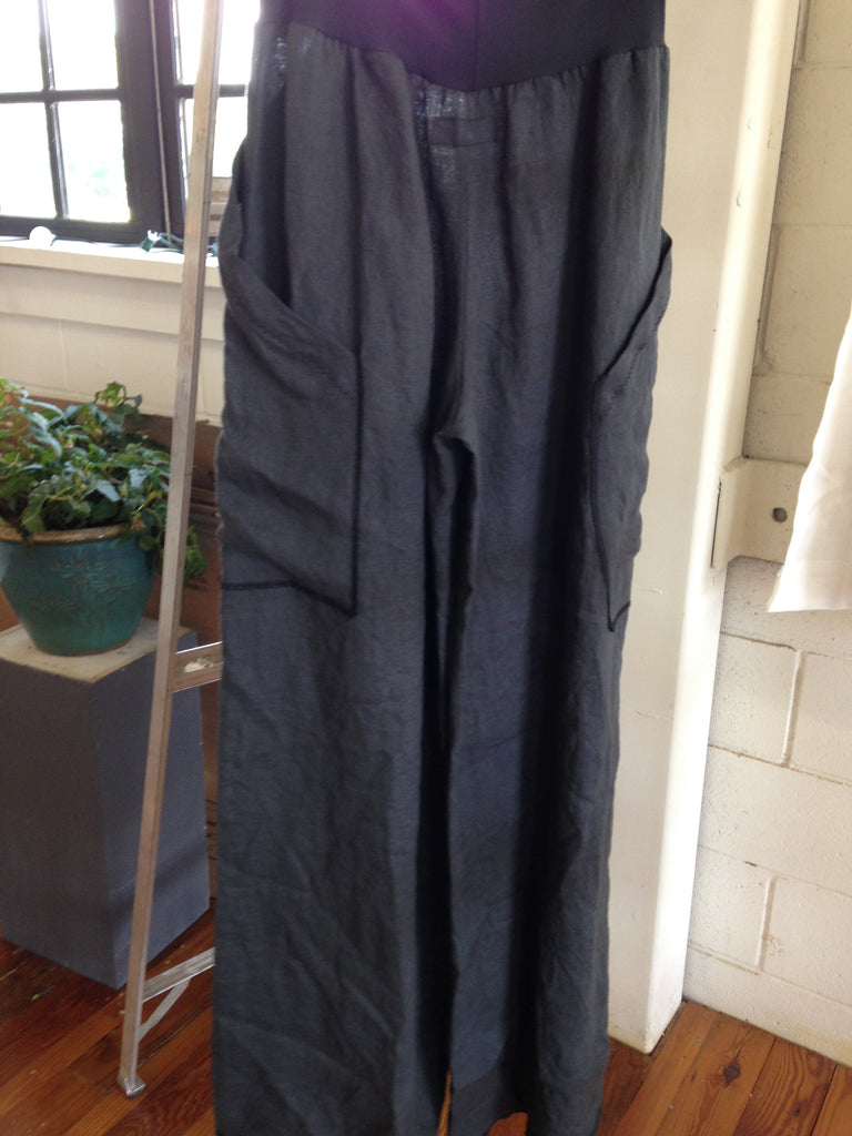 Grey linen wide leg pants