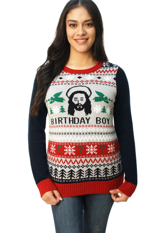 Ugly Christmas Sweater Women's Jesus Birthday Boy Pullover Sweater