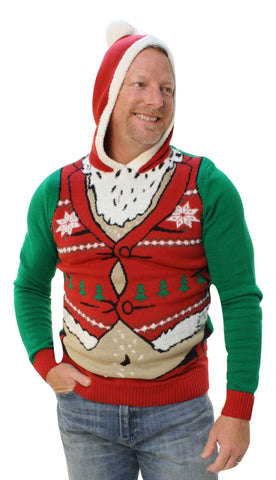 Ugly Christmas Sweater Men's Fat Santa Hooded Pullover Sweatshirt