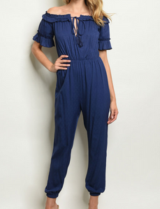 Choose Happiness Jumpsuit in Blue