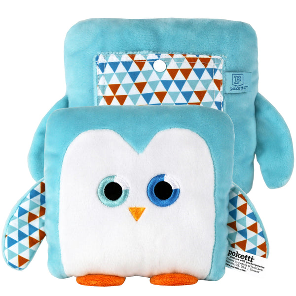 Plush toy penguin stuffed animal with a useful back pocket