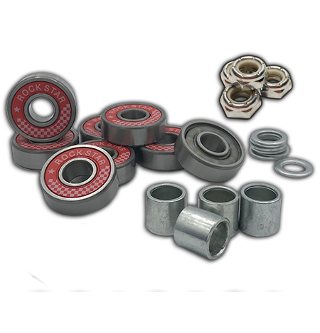 Rock Star Bearings ABEC 9 Red Shield Axle-to-Axle Kit = Rock Star Bearings ABEC 9 Red Shield bearings + Speedlab Wheels