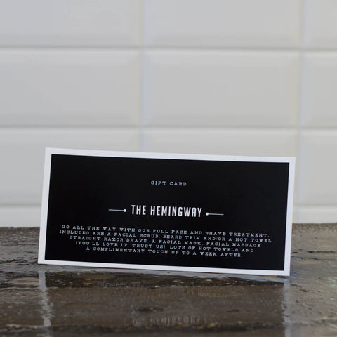 Giftcard The Hemingway: Shave or beardtrim + cleanse + scrub + mask (no haircut)