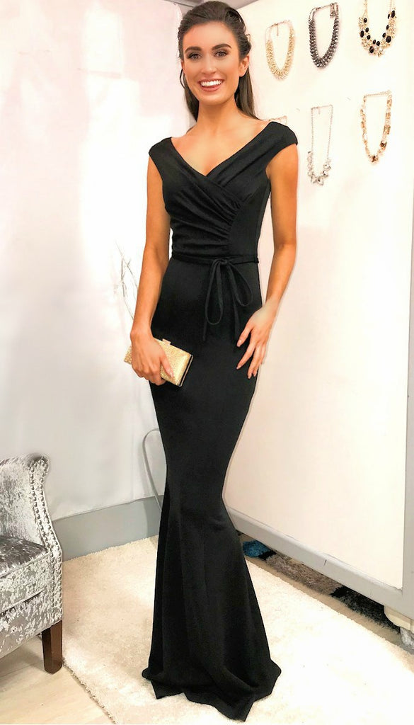 4-5330 - (SIZE 12 ONLY) Black Tie Waist Maxi Dress