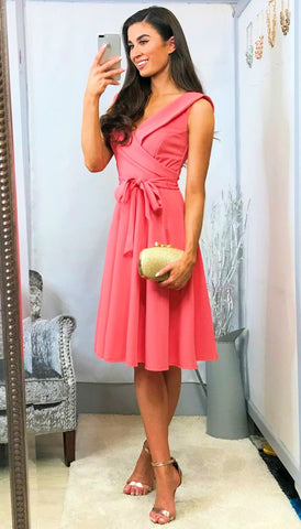 4-5345 - (SIZES 8,14,16) - Pink High Neck Crochet Dress