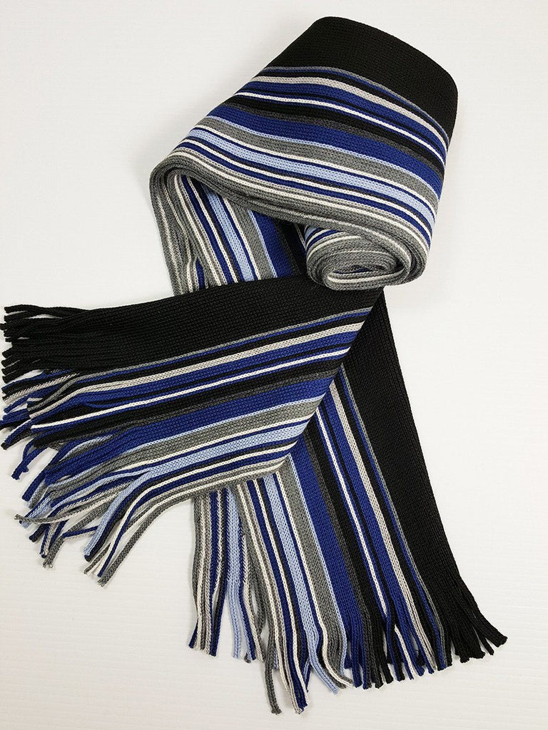Young Men's Scarf 20935 Blue/Black/Grey Young Mens Scarf Bruno Piattelli