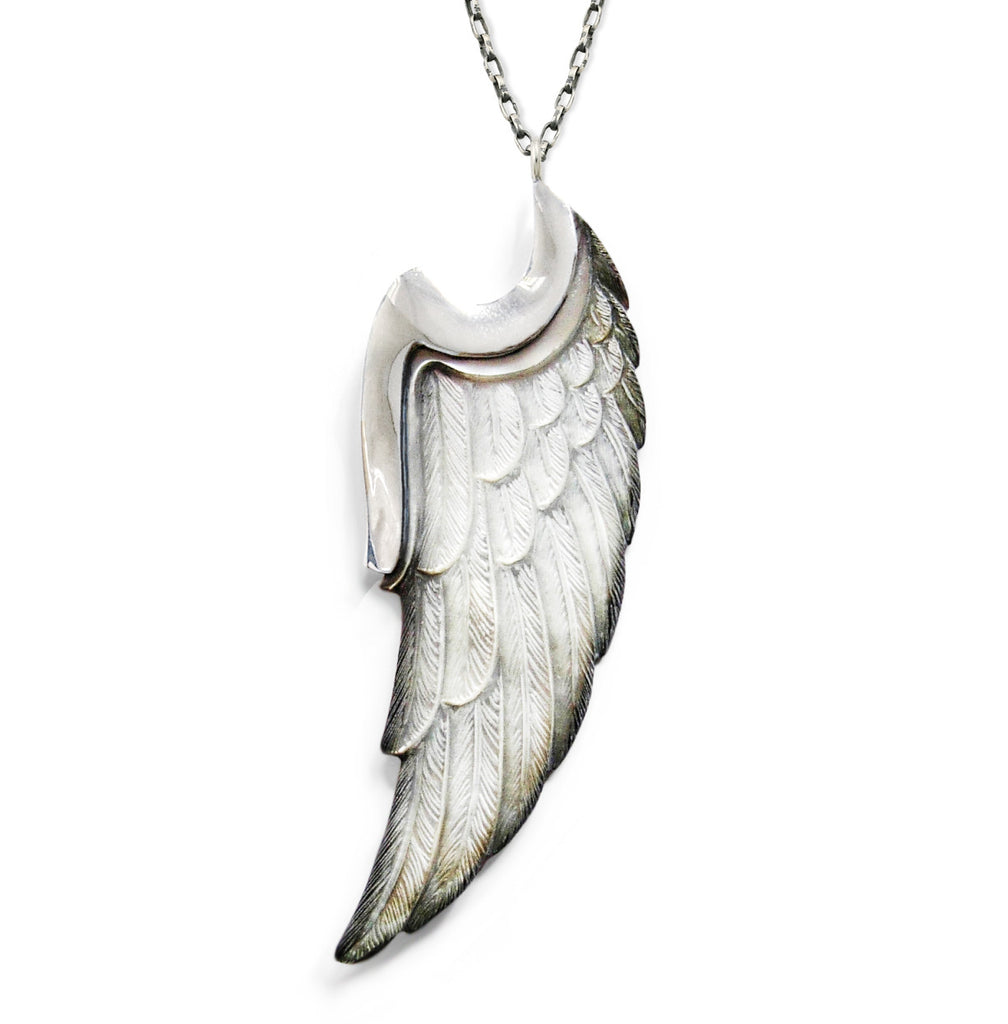 Angel Wing pendant carved from Mother of Pearl