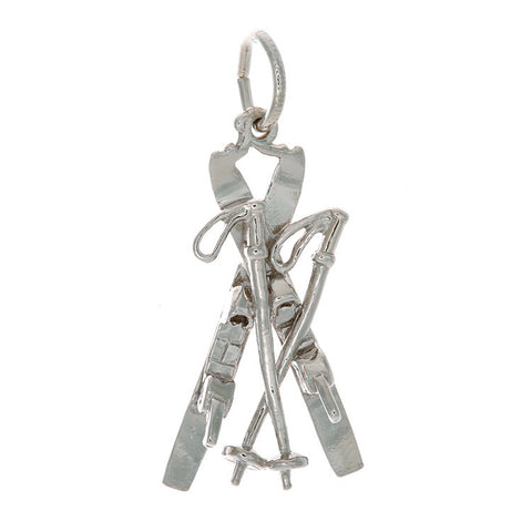 Sterling Silver Crossed Skis and Poles Charm (large)