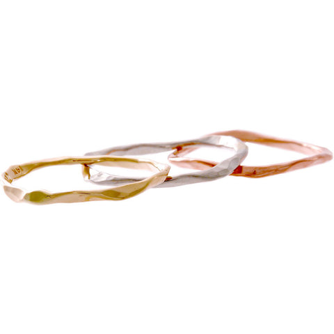 14k Gold Hand Hammered Single Band