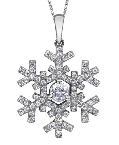 14k gold Canadian Diamond Snowflake Necklace