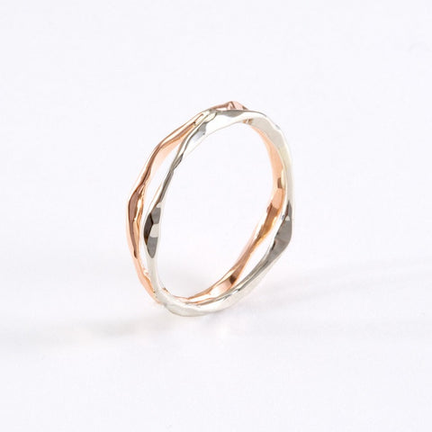 14k Gold Hand Hammered 2 Layer Split Ring