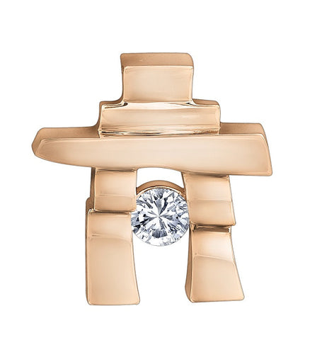 14k rose gold Inukshuk Pendant with Canadian Diamond (medium)