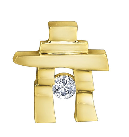 14k yellow gold Inukshuk Pendant with Canadian Diamond (medium)
