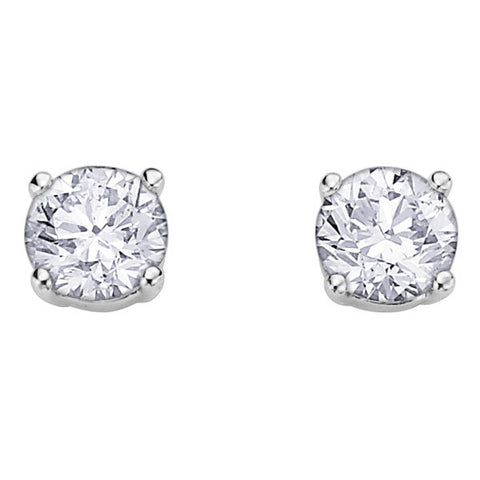 14k White Gold Canadian Diamond Solitaire Stud Earrings