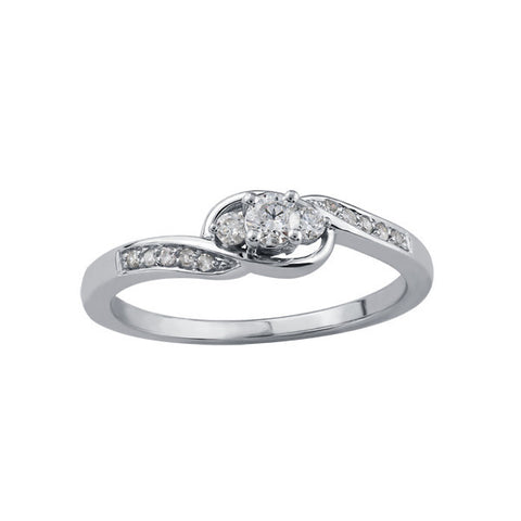 10k White Gold 3 Across delicate Engagement Ring