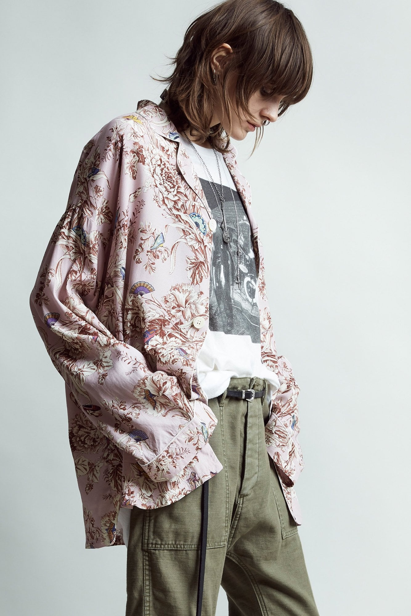PJ Top- Pale Pink Floral