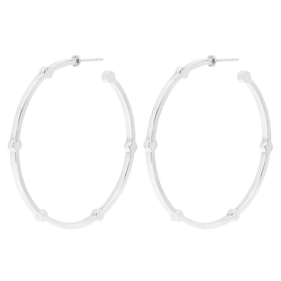 Large Cage Hoops | White Gold