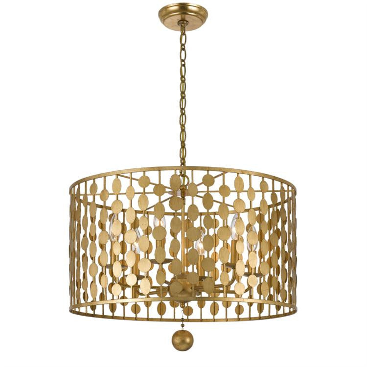 Layla 6 Light Antique Gold Chandelier - Crystorama