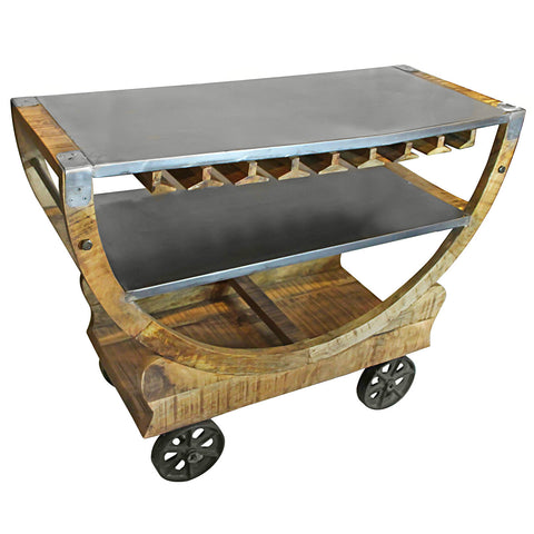 Hamilton Iron Wooden Trolley with Wine Glass Storage