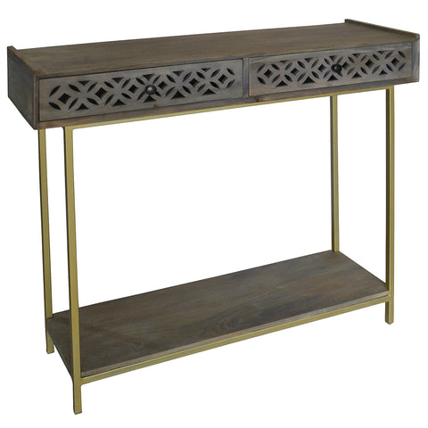Adonis Wood Console, Gray Brown