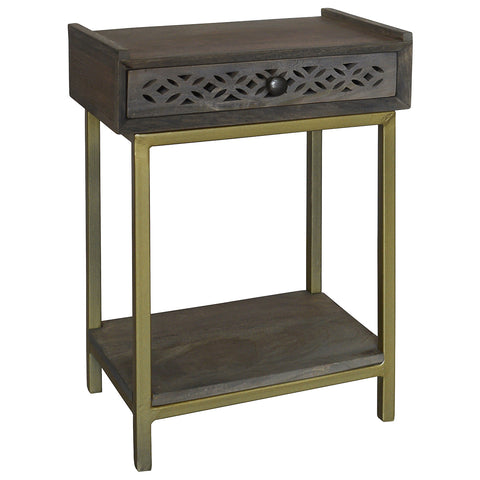 Adonis Wood Side Table, Gray Brown