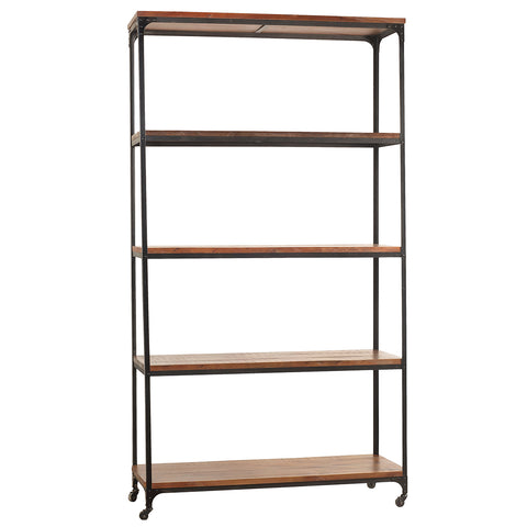"Bedford Library Shelves 107"", Rustic Dark Gray Wash"