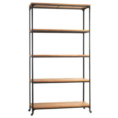 "Bedford Library Shelves 107"", Rustic Gray Wash"