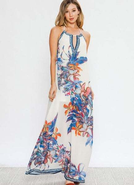 Pastel Printed Halter Maxi Dress with Keyhole Front