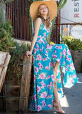 Turquoise Floral Sleeveless Surplice Maxi Dress with Front Slits