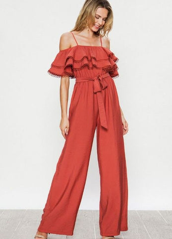 Adobe Off the Shoulder Shoulder Ruffle Jumpsuit