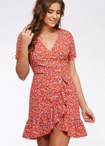 Ditzy Floral 'Felicia' Surplice Dress with Ruffle Detail