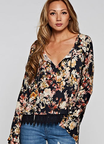 Black Floral Bell Sleeve Top with Lace Trim