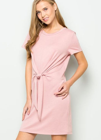 French Terry Side Twist Knit Dress in Rose