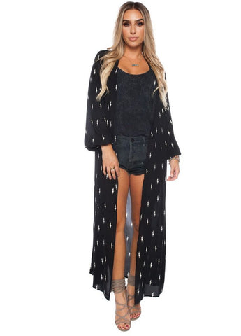 'Loretta' Duster Cardigan in Electric Print by Buddy Love
