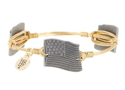 Bourbon and Boweties ™ US Flag (Pewter) on Gold Wire Bangle