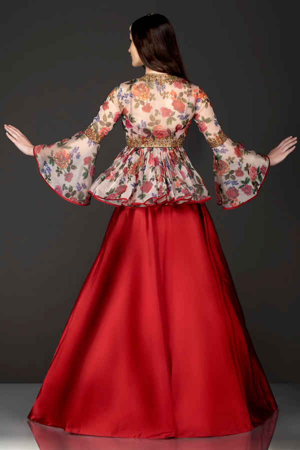 Ivory Colour Organza Floral Peplum With Maroon Silk Skirt With Net Dupatta