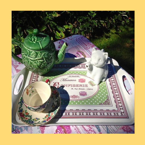 Tea Tray - French Serving Tray with Macarons  Designs