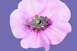 Peridot Marcasite Ring - Vintage Style Jewellery by Chicago Marcasite Jewellery