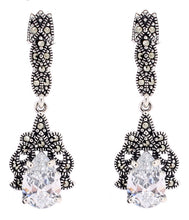 Load image into Gallery viewer, Cubic Zirconia Marcasite Earrings - Vintage Style Jewellery by Chicago Marcasite Jewellery