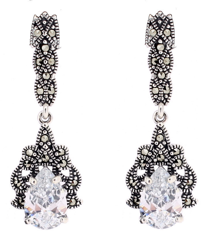 Cubic Zirconia Marcasite Earrings - Vintage Style Jewellery by Chicago Marcasite Jewellery
