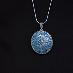 Blue Enamel Marcasite Necklace - Vintage Style Jewellery by Chicago Marcasite Jewellery