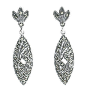 Marcasite Drop Earrings - Vintage Style Jewellery by Chicago Marcasite Jewellery