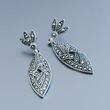 Load image into Gallery viewer, Marcasite Drop Earrings - Vintage Style Jewellery by Chicago Marcasite Jewellery