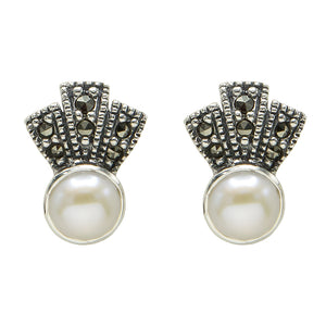 Freshwater Pearl Marcasite Earrings - Vintage Style Jewellery by Chicago Marcasite Jewellery