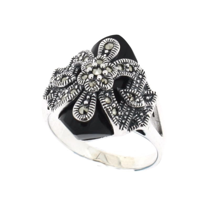 Onyx Marcasite Ring - Vintage Style Jewellery by Chicago Marcasite Jewellery