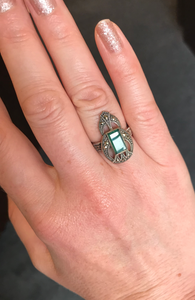 Art Deco Style Green Agate Ring - Vintage Style Jewellery by Chicago Marcasite Jewellery