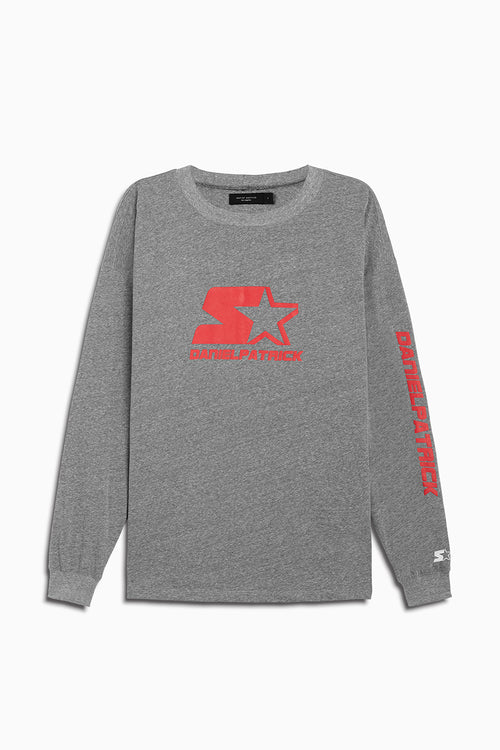 dp starter l/s logo crew in heather grey/red by daniel patrick x starter