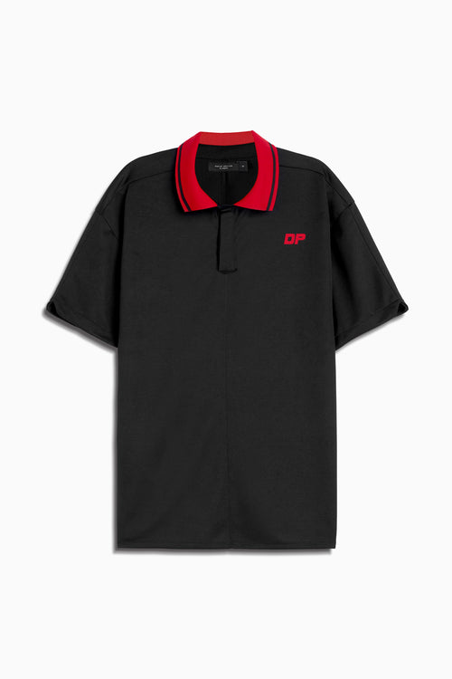 dp rugby polo in black/red by daniel patrick